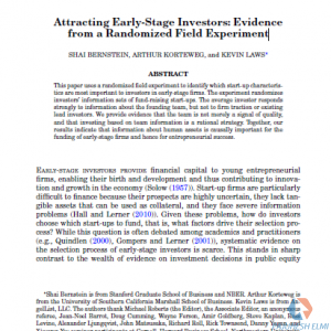 Attracting Early-Stage Investors: Evidence from a Randomized Field Experiment