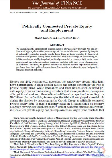 Politically Connected Private Equity and Employment